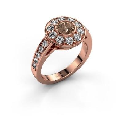 Verlovingsring Raven 2 375 rosé goud bruine diamant 1.35 crt