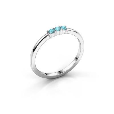Foto van Verlovings ring Yasmin 3 585 witgoud blauw topaas 2 mm