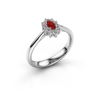 Picture of Engagement ring Leesa 1 925 silver ruby 5x4 mm