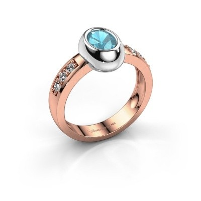 Ring Charlotte Oval 585 rose gold blue topaz 7x5 mm