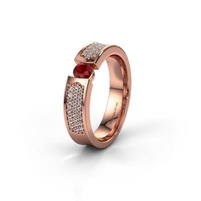 Trouwring WH2100L 375 rosé goud robijn ±5x3 mm