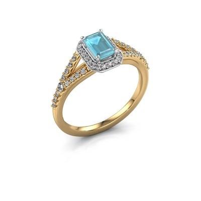 Verlovingsring Pamela EME 585 goud blauw topaas 6x4 mm