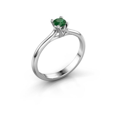 Foto van Verlovingsring Isa 1 925 zilver smaragd 4 mm