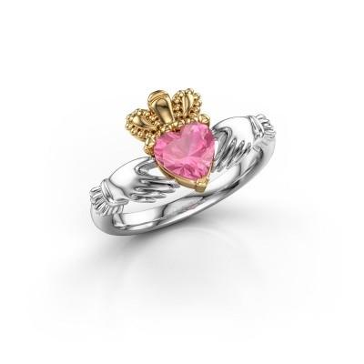 Foto van Ring Claddagh 2 585 witgoud roze saffier 6 mm