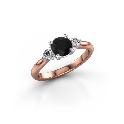 Picture of Engagement ring Lieselot RND 585 rose gold black diamond 1.40 crt