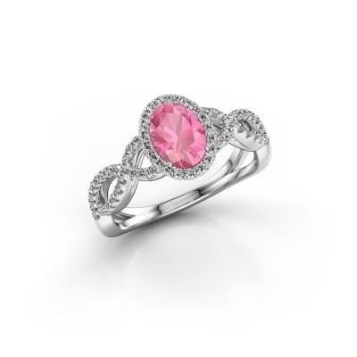 Foto van Verlovingsring Tanesha 585 witgoud roze saffier 7x5 mm
