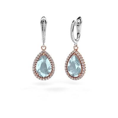 Drop earrings Tilly per 4 585 rose gold aquamarine 12x8 mm
