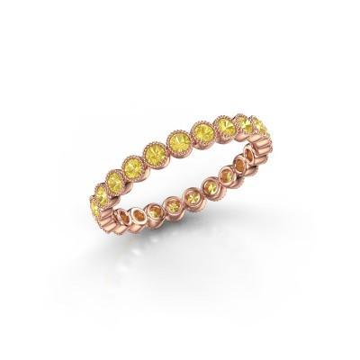 Foto van Ring Mariam 0.03 375 rosé goud gele saffier 2 mm