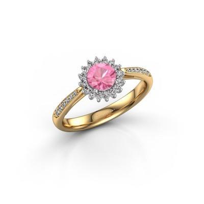 Verlovingsring Tilly RND 2 585 goud roze saffier 5 mm