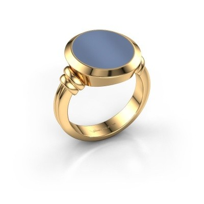 Zegelring Jake 4 585 goud licht blauwe lagensteen 15x13 mm