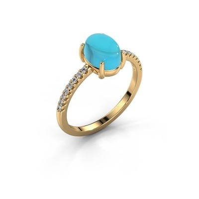 Ring Becky 585 goud blauw topaas 8x6 mm