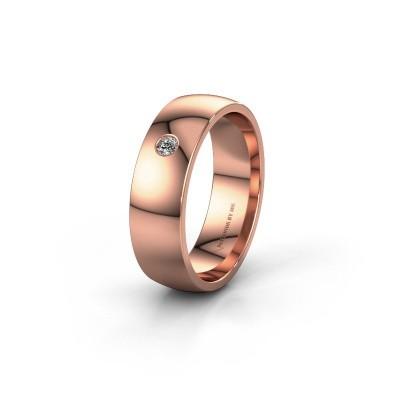 Trouwring WH0101L26AP 375 rosé goud diamant ±6x1.4 mm