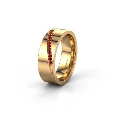 Trouwring WH2146L17A 585 goud robijn ±7x1.7 mm