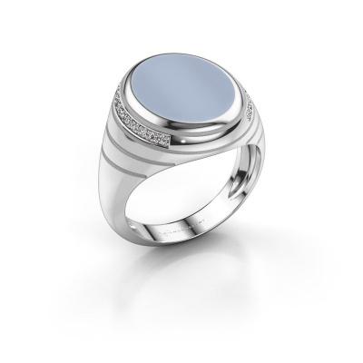 Siegelring Luuk 925 Silber Hellblau Lagenstein 15x12 mm