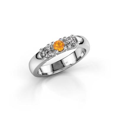 Engagement ring Rianne 3 585 white gold citrin 3.4 mm