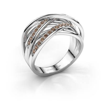 Foto van Ring Fem 2 585 witgoud bruine diamant 0.450 crt