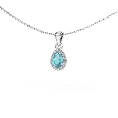 Picture of Necklace Monique 585 white gold blue topaz 6x4 mm
