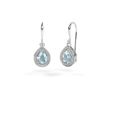 Drop earrings Beverlee 1 950 platinum aquamarine 7x5 mm