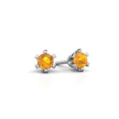 Stud earrings Shana 950 platinum citrin 4 mm