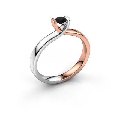 Foto van Verlovingsring Noor 585 rosé goud zwarte diamant 0.24 crt