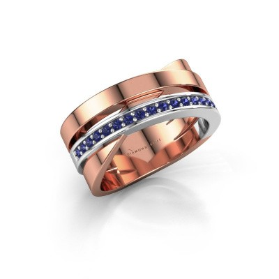 Ring Yolando 585 rosé goud saffier 1.3 mm