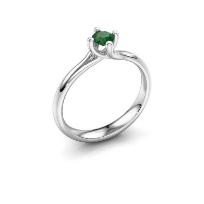 Picture of Engagement ring Dewi Round 950 platinum emerald 4 mm