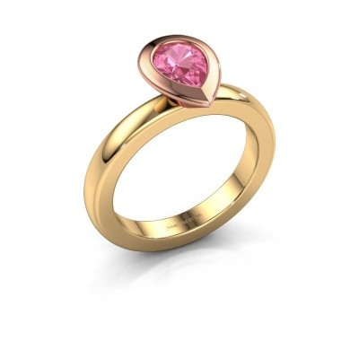 Stapelring Trudy Pear 585 goud roze saffier 7x5 mm