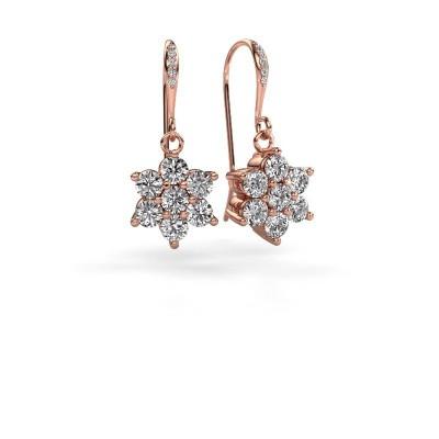 Foto van Oorhangers Dahlia 2 375 rosé goud diamant 1.46 crt