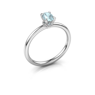 Foto van Verlovingsring Crystal OVL 3 925 zilver aquamarijn 6x4 mm