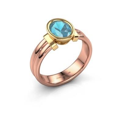 Ring Gerda 585 Roségold Blau Topas 8x6 mm