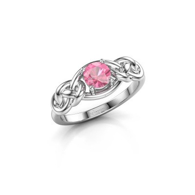 Foto van Ring Zoe 585 witgoud roze saffier 5 mm