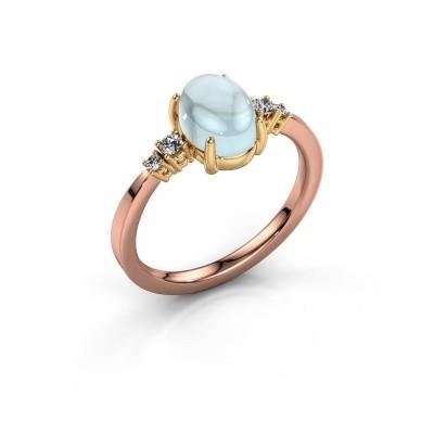 Ring Jelke 585 rosé goud aquamarijn 8x6 mm