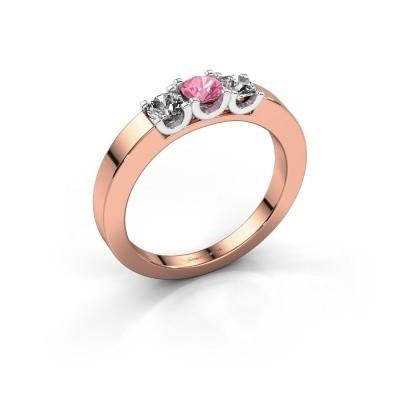 Foto van Verlovingsring Selina 1 585 rosé goud roze saffier 3.7 mm