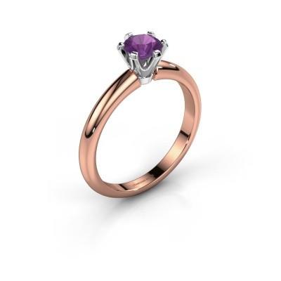 Verlovingsring Tiffy 1 585 rosé goud amethist 5 mm