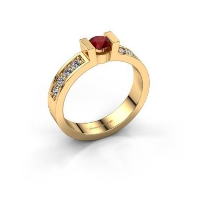 Verlovingsring Lieve 2 585 goud robijn 4 mm