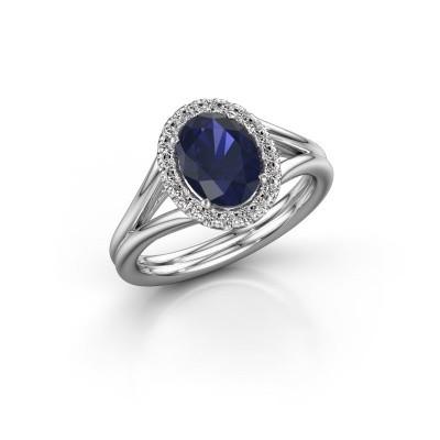 Engagement ring Rachele 1 585 white gold sapphire 8x6 mm