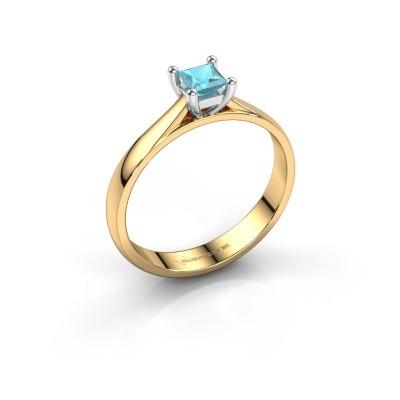 Engagement ring Sam Square 585 gold blue topaz 4 mm