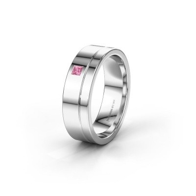 Trouwring WH0301L16APSQ 925 zilver roze saffier ±6x1.7 mm