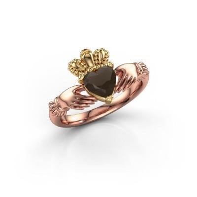 Foto van Ring Claddagh 2 585 rosé goud rookkwarts 6 mm
