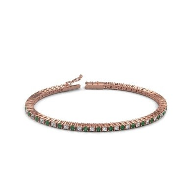 Tennis bracelet Karisma 375 rose gold emerald 2.4 mm