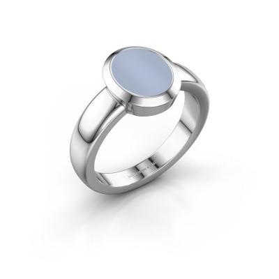 Zegelring Freeda 1 925 zilver licht blauwe lagensteen 10x8 mm