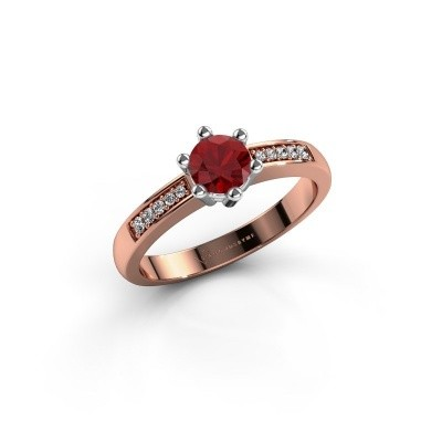 Foto van Verlovingsring Luna 2 585 rosé goud robijn 5 mm