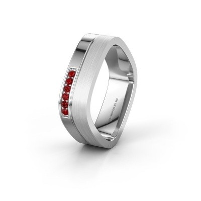 Wedding ring WH6030L16A 925 silver ruby ±6x1.7 mm