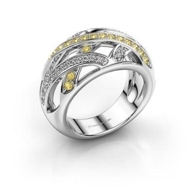 Ring Yinthe 585 white gold yellow sapphire 1.5 mm
