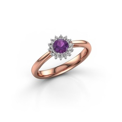 Engagement ring Tilly RND 1 585 rose gold amethyst 4.2 mm
