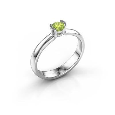 Engagement ring Ophelia 950 platinum peridot 4 mm