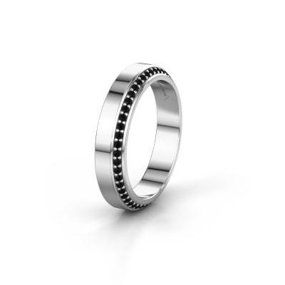 Trouwring WH2106L14C 925 zilver zwarte diamant ±4x2.2 mm