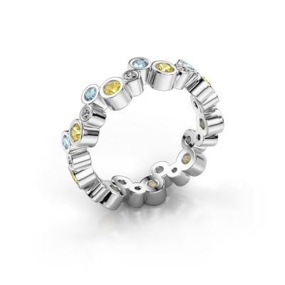 Ring Tessa 585 witgoud gele saffier 2.5 mm