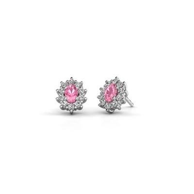 Oorbellen Leesa 925 zilver roze saffier 6x4 mm