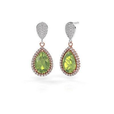 Drop earrings Tilly per 2 585 rose gold peridot 12x8 mm